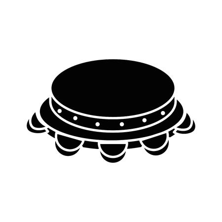 Van het het instrumentpictogram van de tamboerijnmuziek vector de illustratie grafisch ontwerp