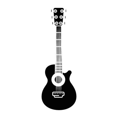 Chitarra acustica musica strumento icona illustrazione vettoriale illustrazione grafica