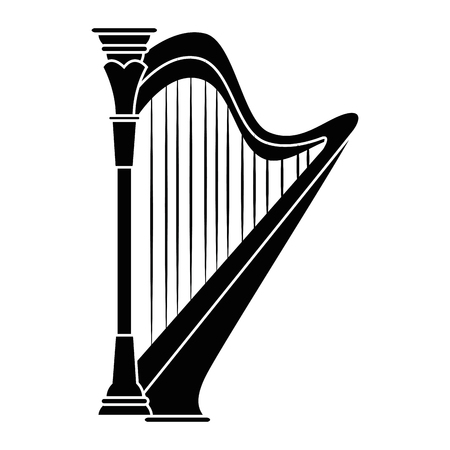 Harp music instrument icon vector illustration graphic design Çizim