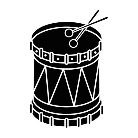 Drum with stick music instrument icon vector illustration graphic design
