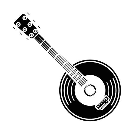 Diseño gráfico del ejemplo del vector del icono de la guitarra y del instrumento de música del vinilo Foto de archivo - 83261837