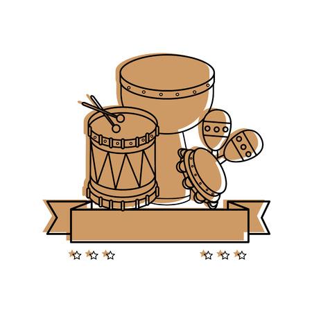 Muziek instrument embleem label icoon vector illustratie grafisch ontwerp
