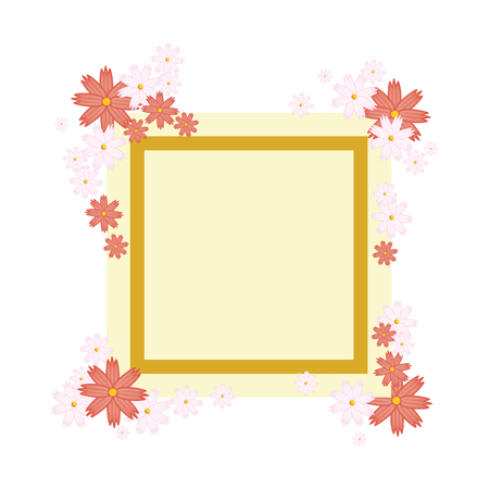 decorative frame with flowers over white background vector illustration