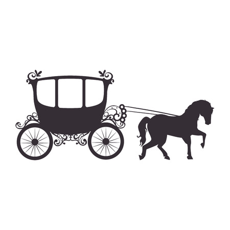 medieval carriage icon over white background vector illustration