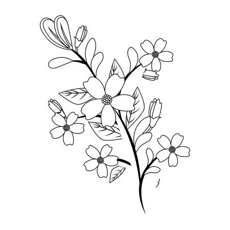Mooie bloemen die over witte vectorillustratie als achtergrond tuinieren