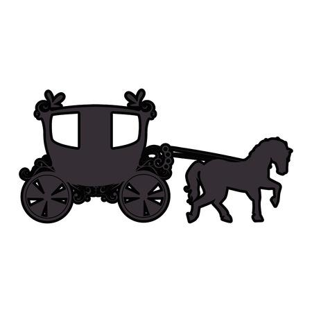 Icono de carro medieval sobre fondo blanco ilustración vectorial Foto de archivo - 83264281
