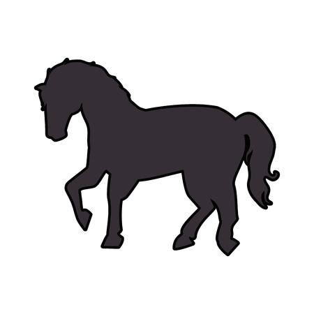 paardenpictogram afbeelding over witte achtergrond vectorillustratie Stock Illustratie