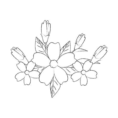 Belles fleurs jardinage sur fond blanc illustration vectorielle Banque d'images - 83264525