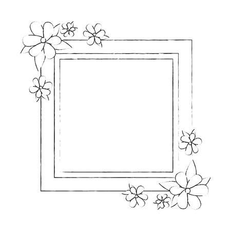 decorative frame with flowers over white background icon
