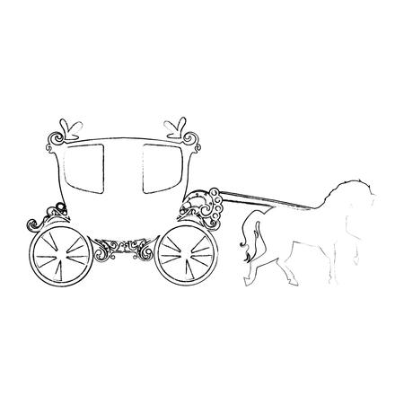 Icono de carro medieval sobre fondo blanco ilustración vectorial Foto de archivo - 83264889