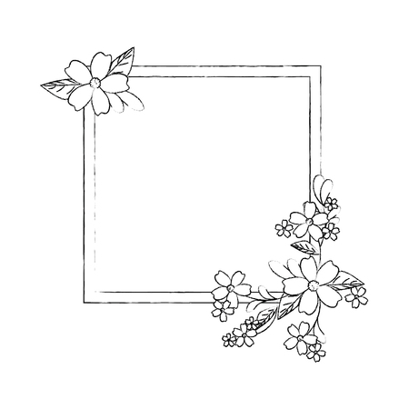 白い背景アイコンの上の花で装飾的なフレーム