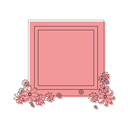 decorative frame with flowers icon over white background colorful design vector illustration Stock fotó - 83265761