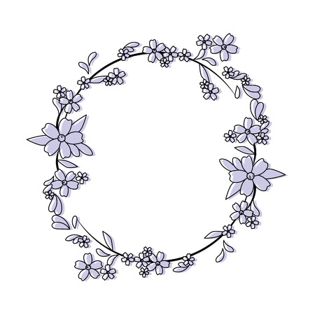 Circular frame with flowers icon over white background vector illustration