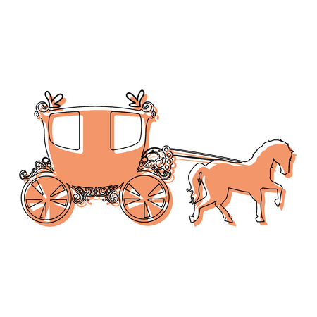 medieval carriage and horse icon over white background vector illustration
