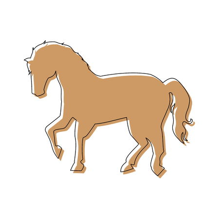 horse icon over white background vector illustration