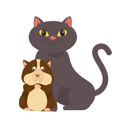 cartoon cat and squirrel icon over white background colorful design vector illustration Illustration