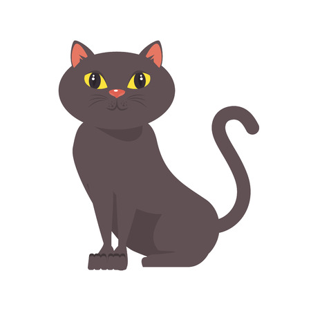 cartoon cat icon over white background colorful design vector illustration