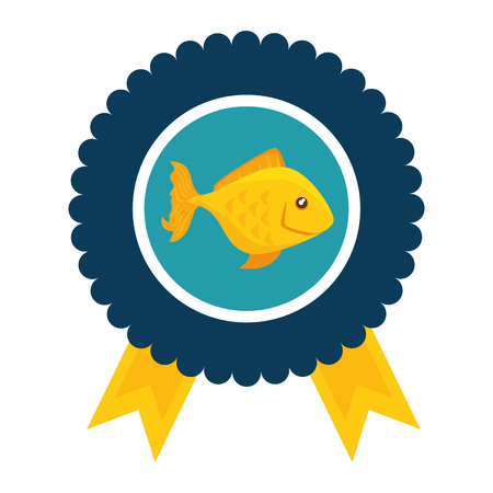 medal with fish icon over white background colorful design vector illustration Illustration