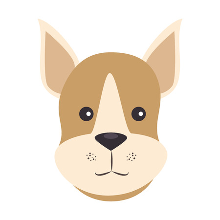 cartoon dog face icon over white background colorful design vector illustration Ilustração