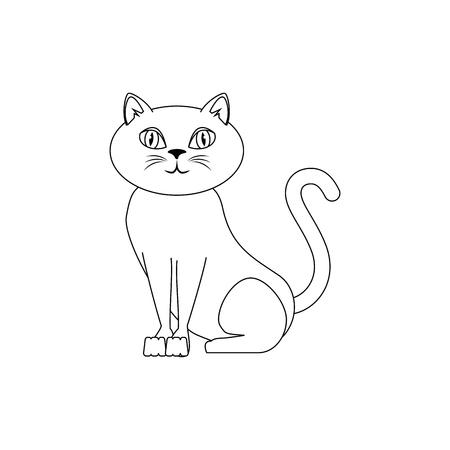 흰색 배경 벡터 일러스트 레이 션을 통해 만화 고양이 아이콘 일러스트