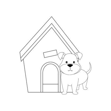 dog house and puppy icon over white backgorund vector illustration