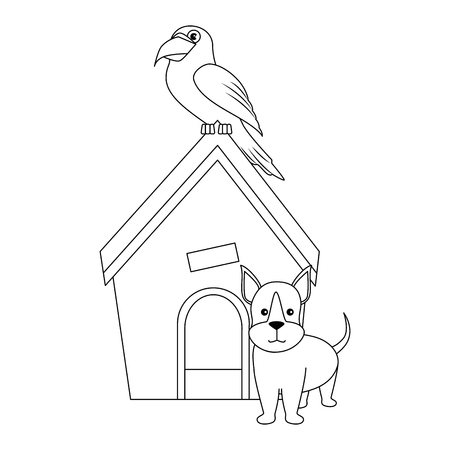dog house with puppy and parrot icon over white backgorund vector illustration Ilustração