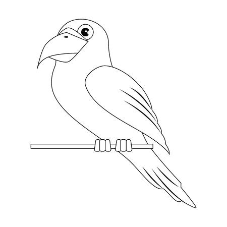 Papegaai vogel pictogram op witte achtergrond vector illustratie
