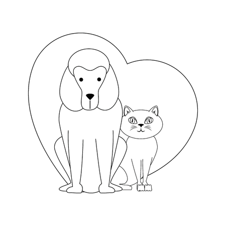 heart with dog and cat icon over white background vector illustration Stock Vector - 83280235