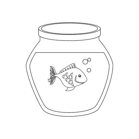 Vis kom met vis icoon over witte achtergrond vector illustratie