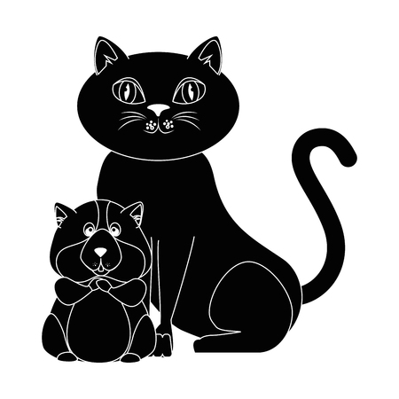 cartoon squirrel and cat icon white background graphic design vector illustration Illustration