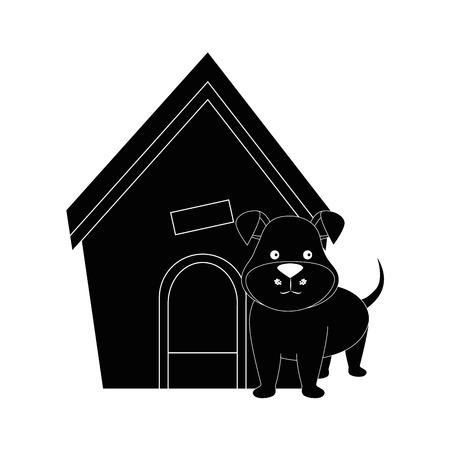 白 backgorund ベクトル イラスト上の犬家、子犬アイコン