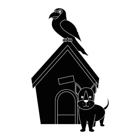 Hond huis met puppy en papegaai pictogram over witte backgorund vector illustratie Stock Illustratie