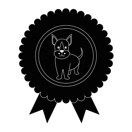 medal with dog icon over white background graphic design vector illustration Illustration