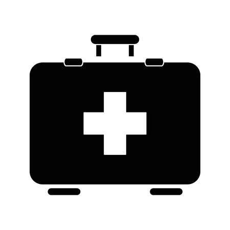 first aid kit icon over white backgroudn vector illustration Ilustracja