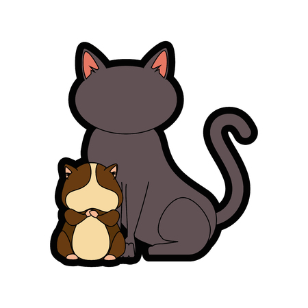 squirrel and cat icon over white background colorful design vector illustration