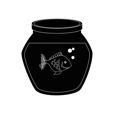 흰색 배경 벡터 일러스트 레이 션 위에 물고기 아이콘으로 물고기 그릇 일러스트