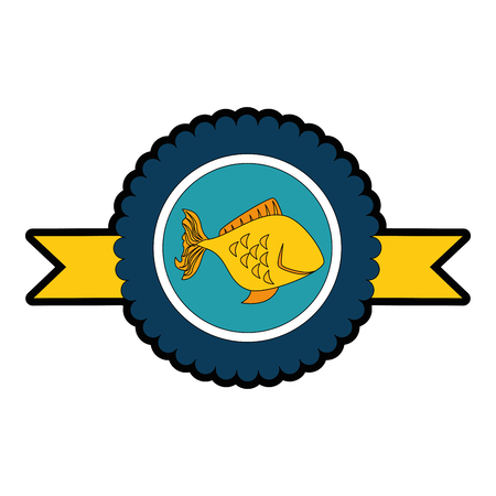 흰색 배경 위에 물고기 아이콘으로 메달 벡터 일러스트 레이 션