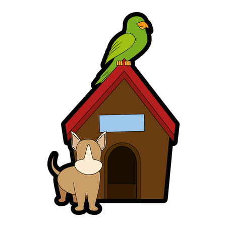Hond huis met puppy en papegaai pictogram over witte backgorund vector illustratie Stock Illustratie