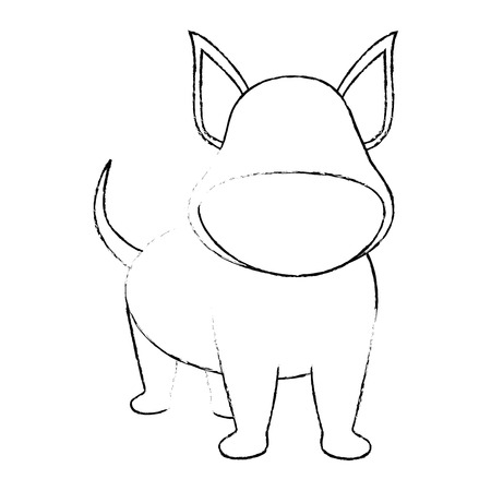dog icon over white background vector illustration