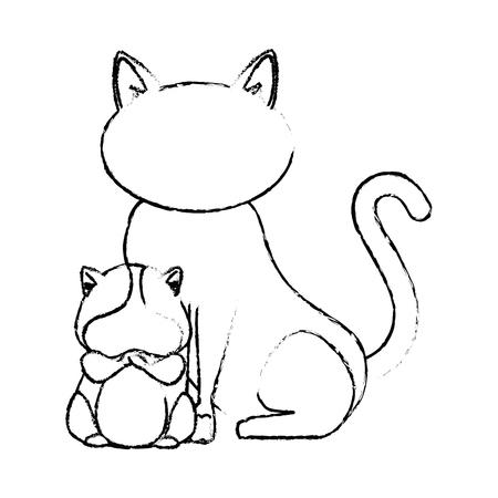 흰색 배경 벡터 일러스트 레이 션을 통해 고양이 다람쥐 아이콘