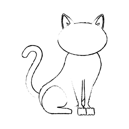 cat icon over white background vector illustration 向量圖像