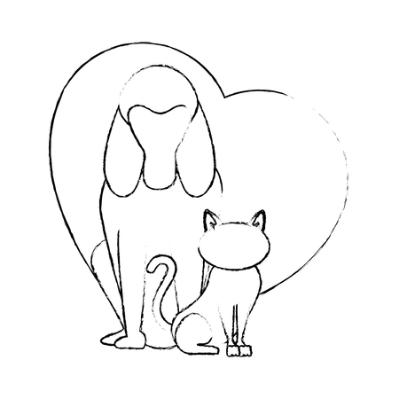 heart with dog and cat icon over white background vector illustration Illustration