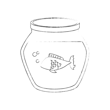 fish bowl with fish icon over white background vector illustration 向量圖像