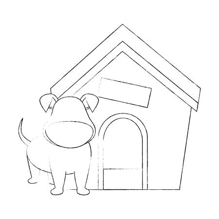 Hond huis en hond pictogram op witte achtergrond vector illustratie Stock Illustratie