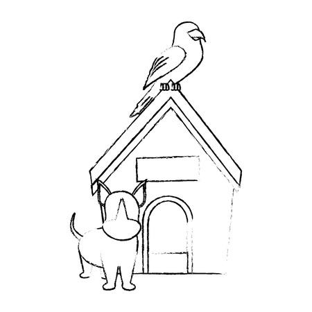 dog house and dog icon over white background vector illustration