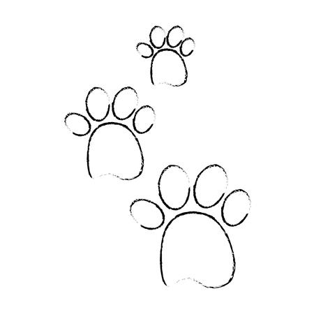 Empreintes de chien icône sur fond blanc illustration vectorielle Banque d'images - 83280927