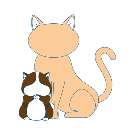 cute: cat and squirrel icon over white background vector illustration Illustration