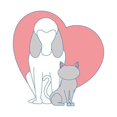 heart with dog and cat icon over white background colorful design vector illustration