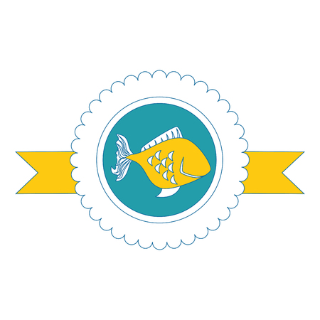 seal stamp with fish icon over white background vector illustration