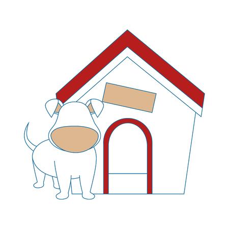 dog house and dog icon over white background colorful design vector illustration Illustration